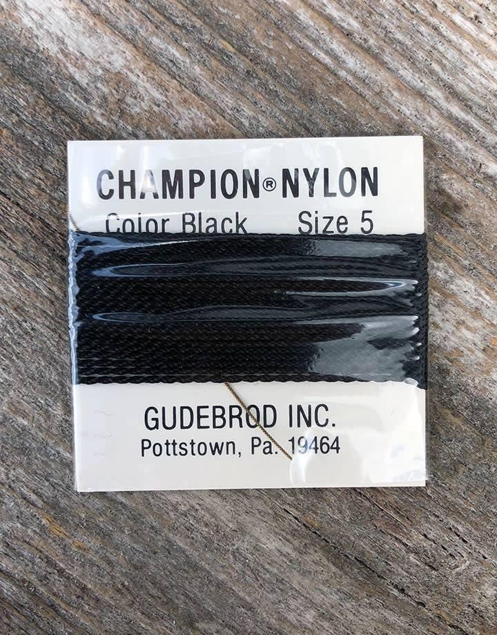 38.0705 = Black Nylon Beading Cord #5 on Card with Needle