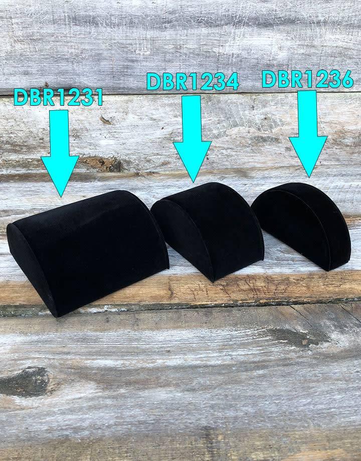 "DBR1234 = Black Velvet Half Round Bracelet Display 3"" Wide"