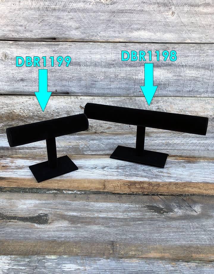 DBR1198 = Light Weight Black Velvet Bracelet T Bar 12''W  x 5'' W