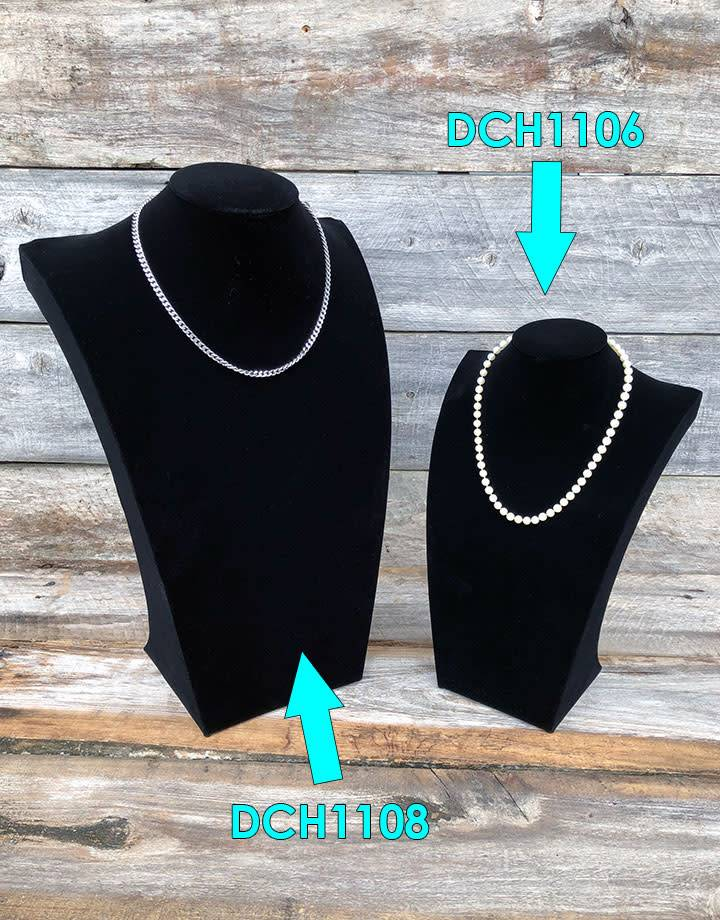 DCH1106 = Value Velvet Necklace Bust 13'' high x 8'' wide