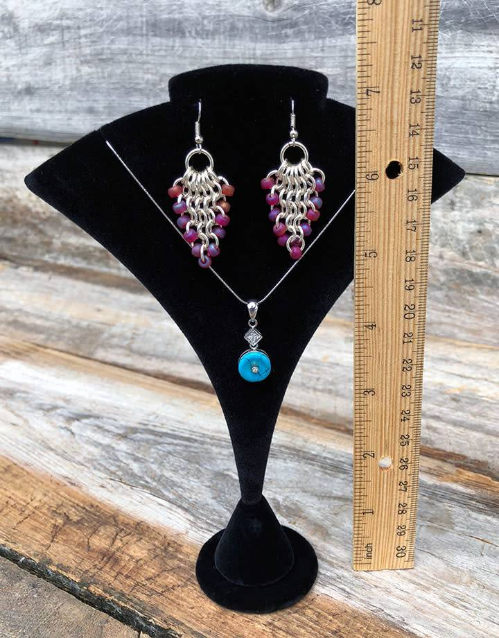 """DCH1408 = Black Velvet Pendant & Earring Stand 5-1/2"""" x 2"""" x 7-1/4"""""""