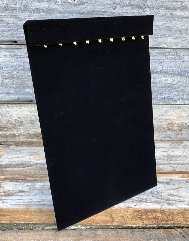 """DCH1652 = VELVET NECKLACE & CHAIN EASEL BOARD with 18 HOOKS and COVER FLAP 9-1/2""""wX14""""h"""