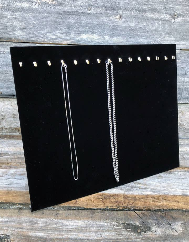 DCH1682 = VELVET NECKLACE CHAIN EASELS 12''H x 15''W with 15 HOOKS