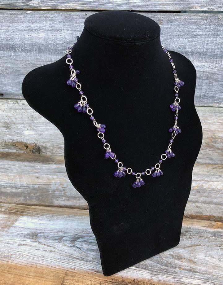 """DCH1842 = Black Velvet Sculpted Necklace Bust  11-1/4""""H x 7-3/4""""W"""