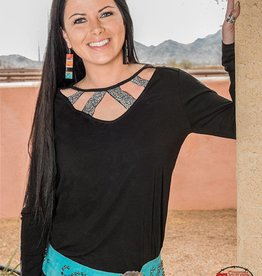 c45165fe5c866a Cowgirl Tuff Ladies Black Strappy Neck Peep Hole Back Shirt