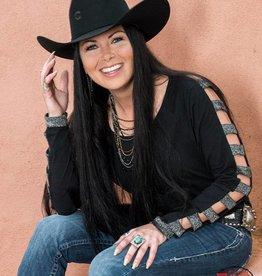 eb16b9bebfe6b6 Cowgirl Tuff Black Silver Strappy Back Shimmer Accent Arm Shirt