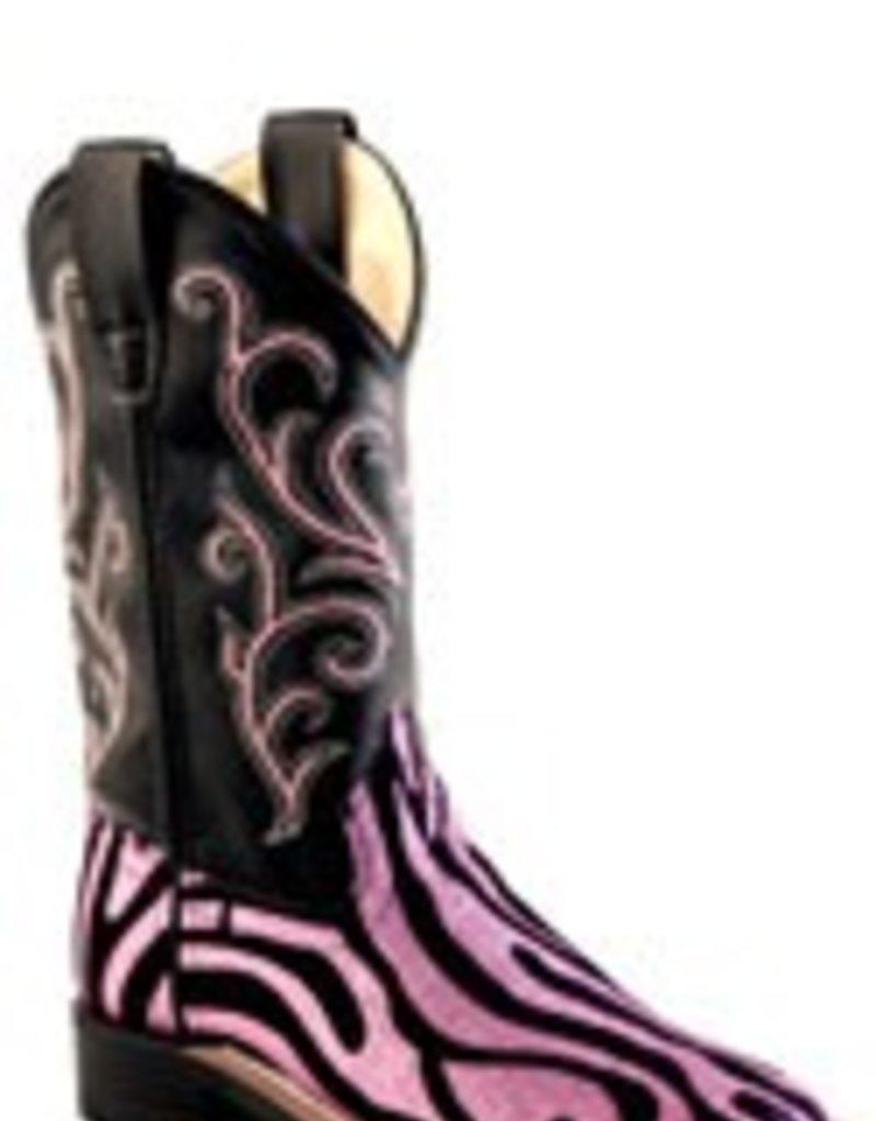 84624b42df Girls Pink Zebra Glitter Boots - The Turquoise Saddle