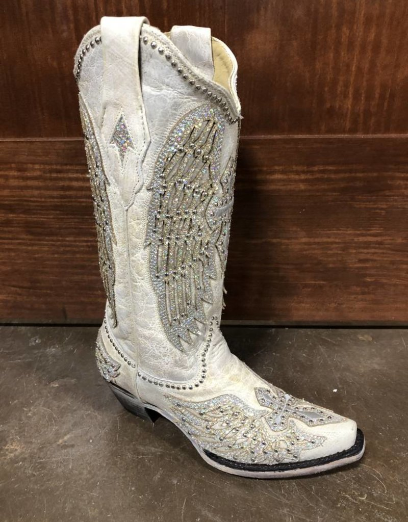 5371015e6ee Corral Women's White Cross & Wing Snip Toe Boots - The Turquoise Saddle