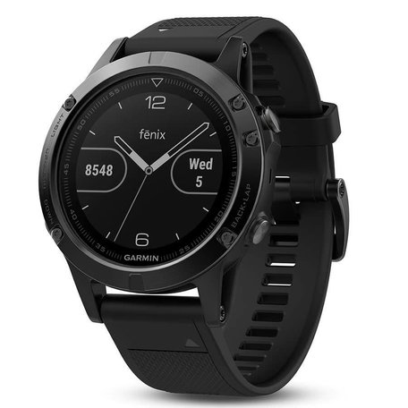 Garmin, Fenix 5 Sapphire, Watch, Black with Black Band, 010-01688-10