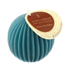 Beeswax Fluted Sphere-Teal