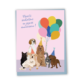 Bonne Fete Chiens And Ballons Card