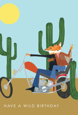 Foxes On Motorcycle Card