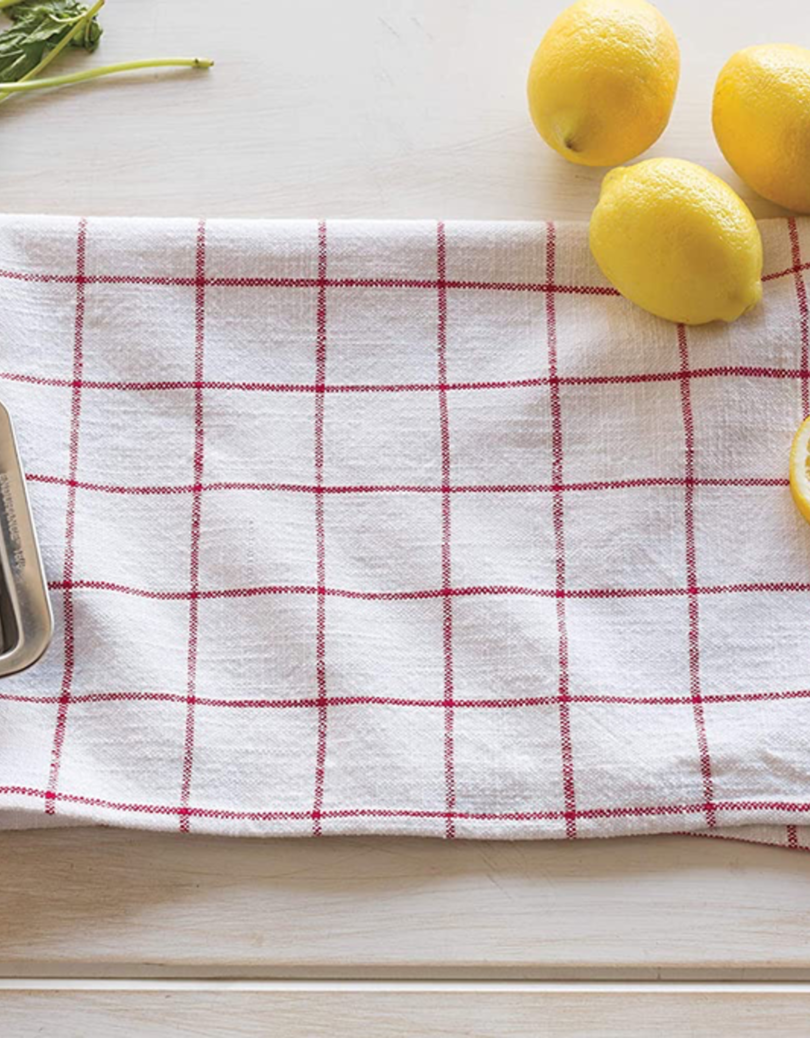 Vintage Wash Tea Towel-Poppy Set 2
