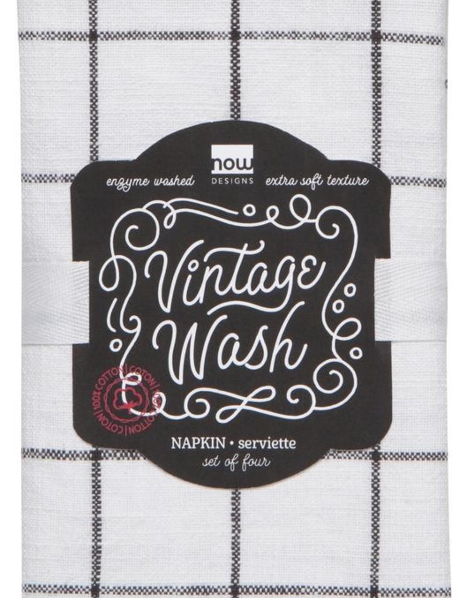 Vintage Wash Napkin-Black Set 4