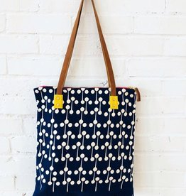 Lolipop Bark Cloth Tote - Navy