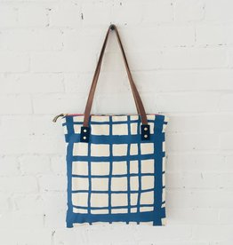 Barkcloth Tote - Picnic Pattern In Cobalt