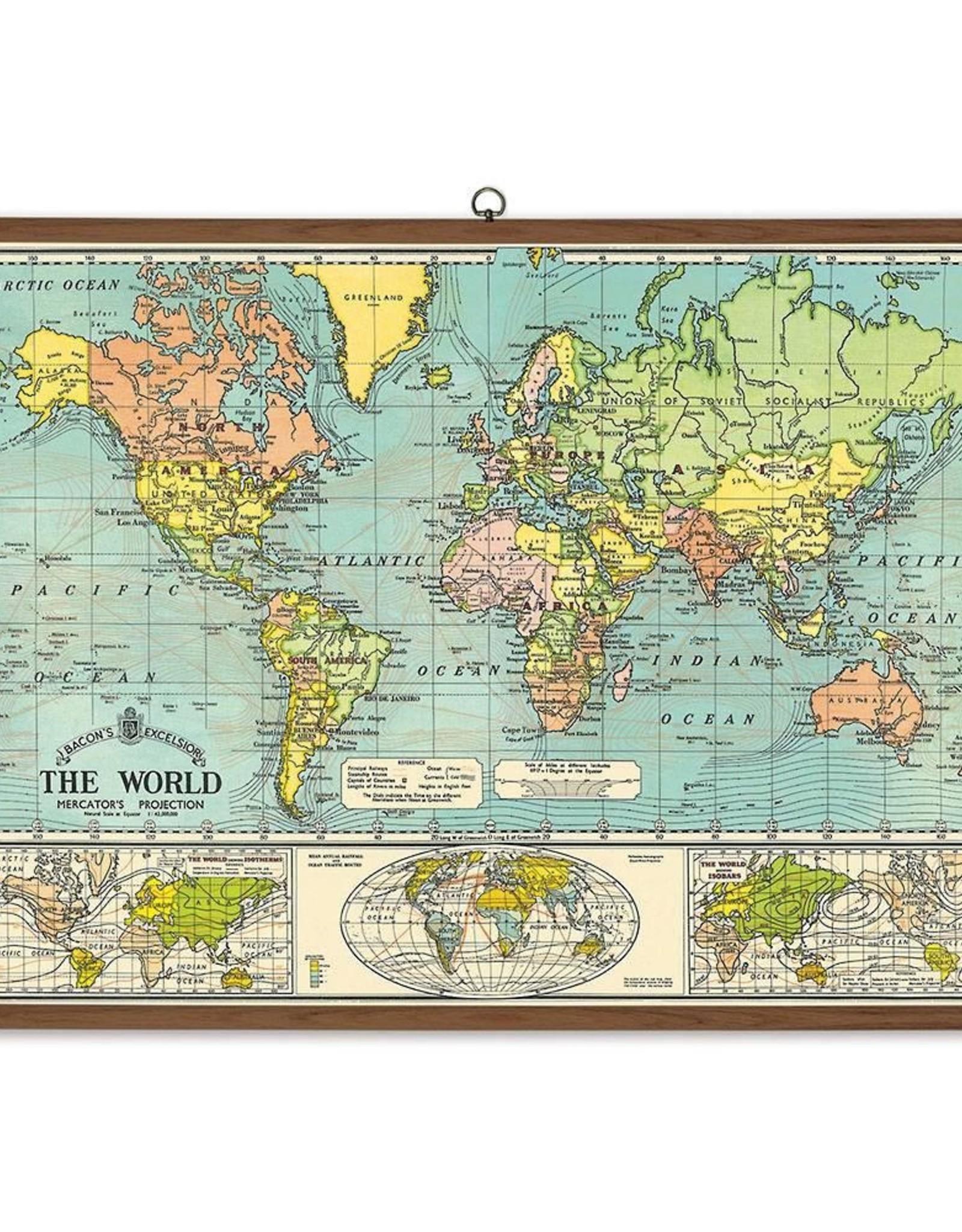 Vintage Style School Chart - World Map