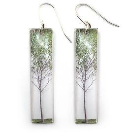 Green Tree Earrings Tall