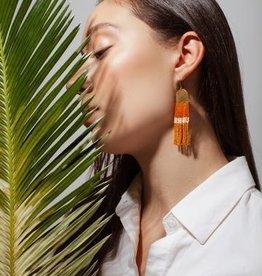 Beaded Orange & Mustard Block Earrings