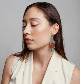 Beaded Ocean Cedar Dangle Earrings