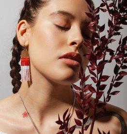 Beaded Terracotta & Lavender Colour Block Earrings
