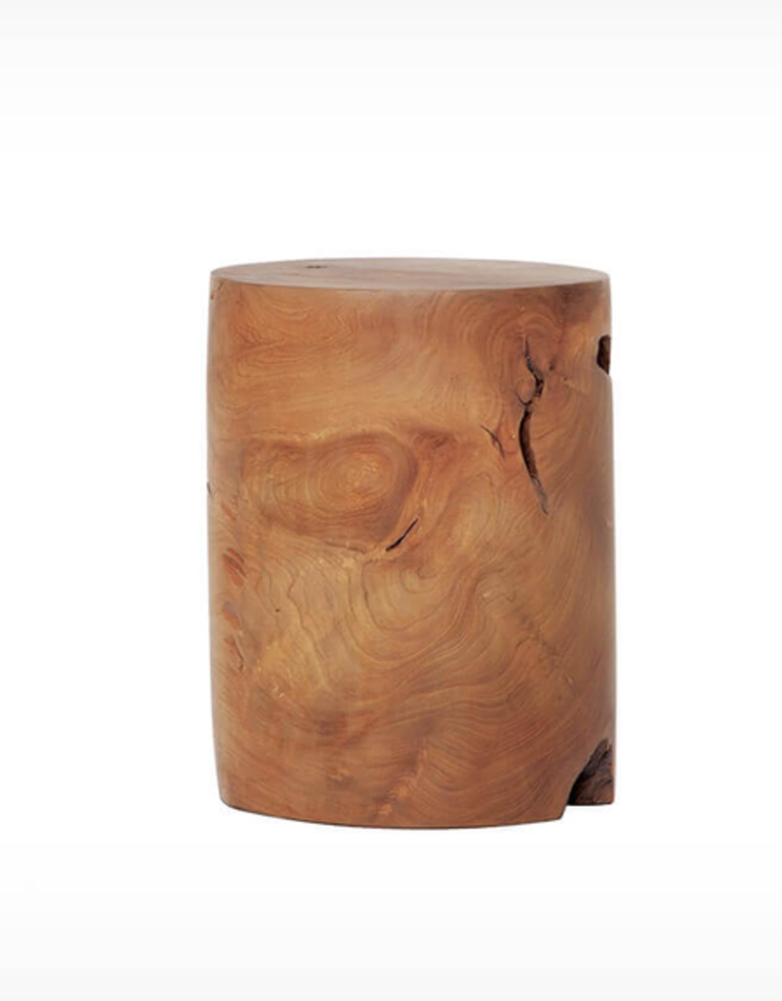 EQ3 Solid Wood Stool - Teak-Cylinder