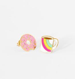Enamel Earrings - Donut + Coffee