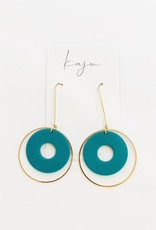 Gold Hoop Earrings Green