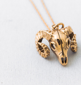 """Ram Necklace 26"""" Bronze w. Gold Fill Chain"""