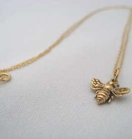 """Busy Bee Necklace 18"""" Bronze w. Gold Fill Chain"""