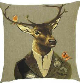 "Belgian Tapestry Cushion - 18"" Deer"