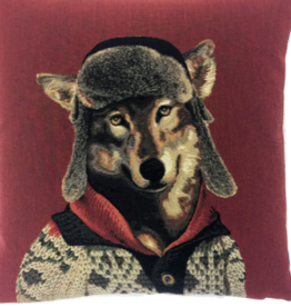 Belgian Tapestry Pillow - Wolf 18""