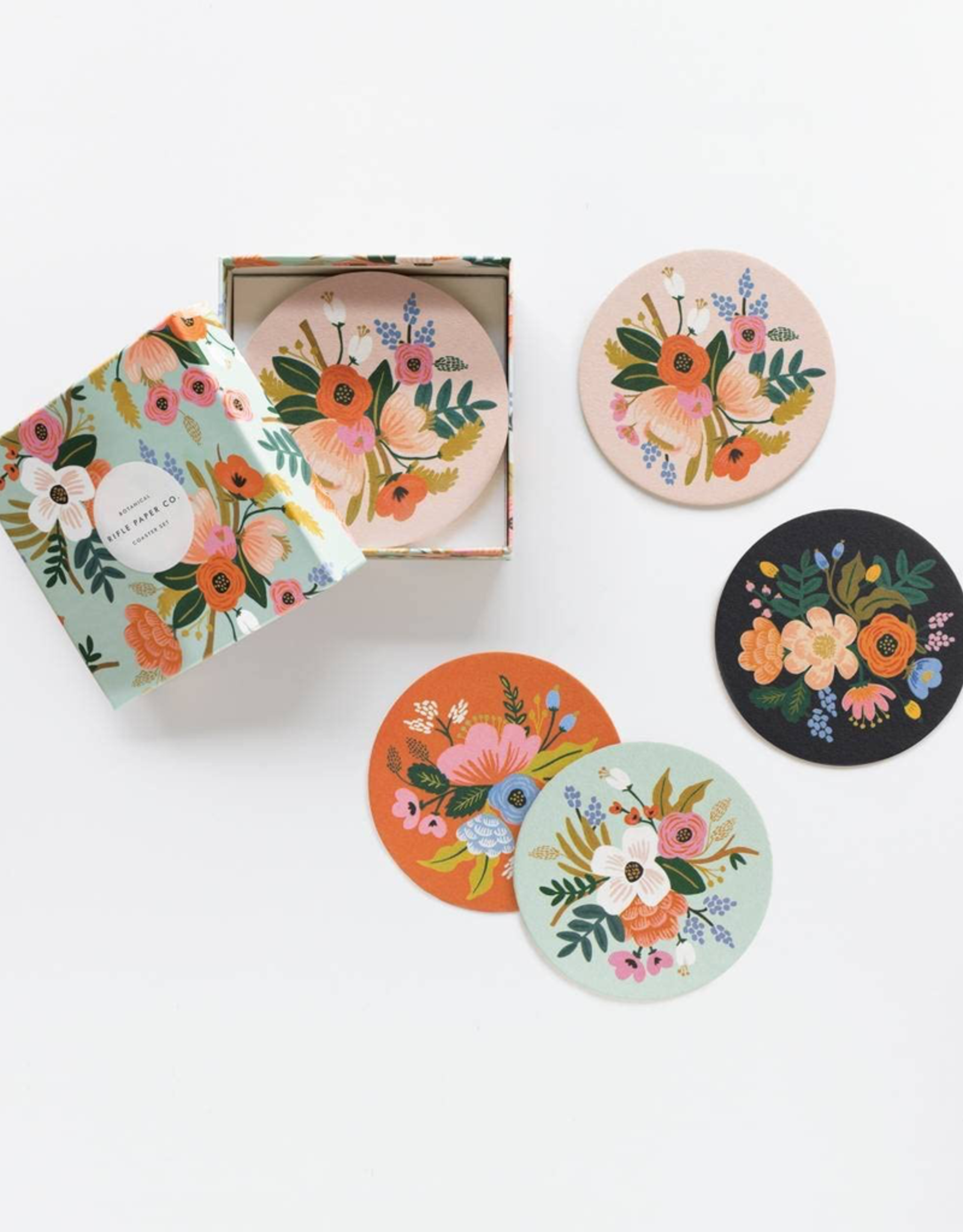 Lively Floral Paper Coaster Set