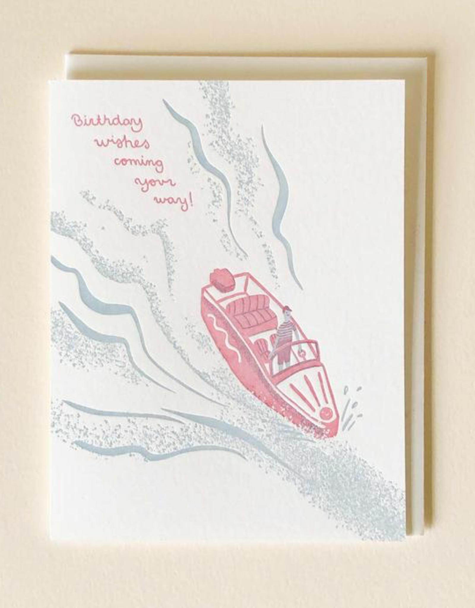 Letterpress Birthday Boat