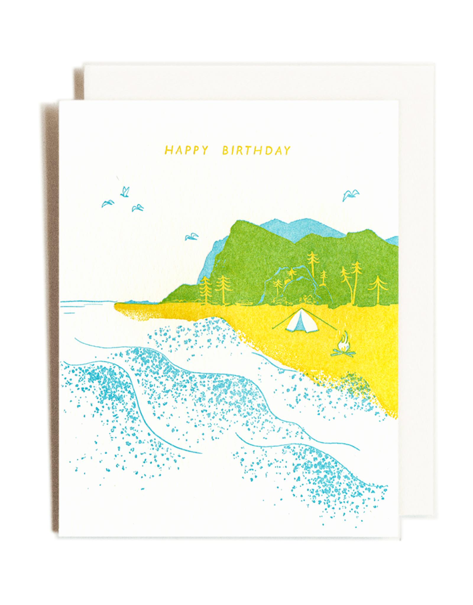 Birthday Beach Letterpress Card