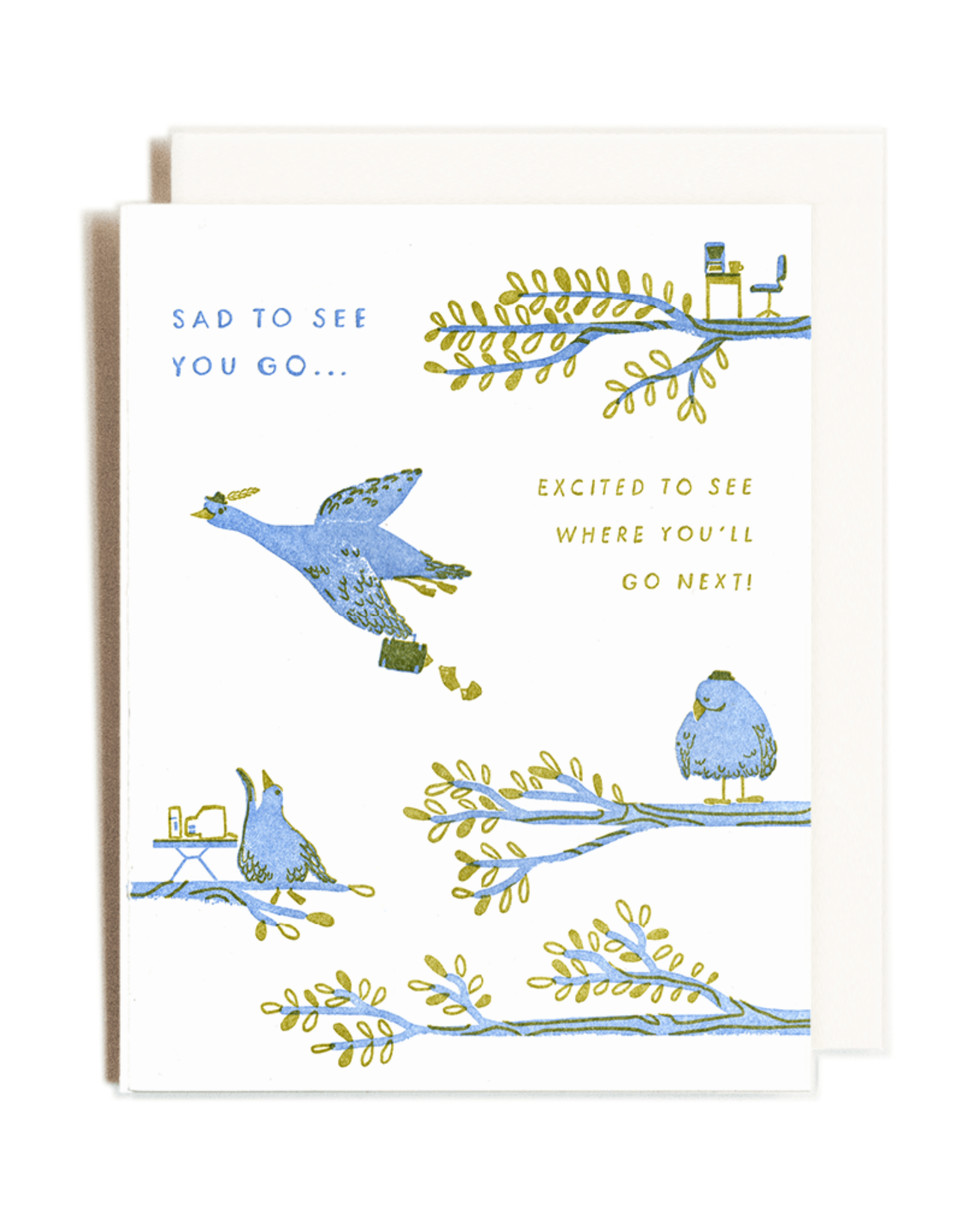 Sad to See You Go Letterpress Card