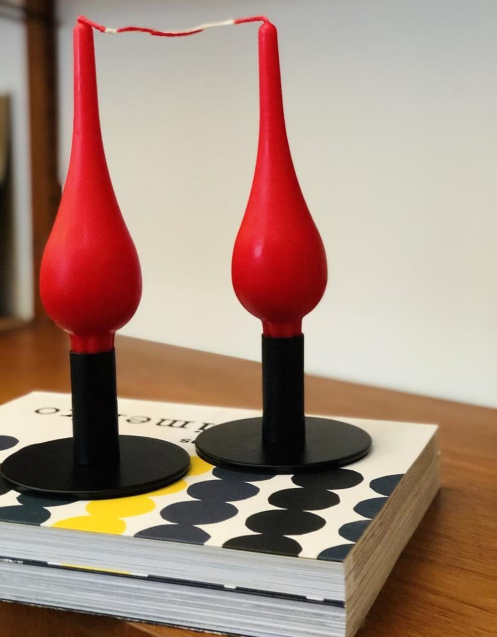 "Danish Drop Candles 7"" Pair, Red"