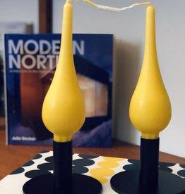 "Danish Drop Candles 7"" Pair, Yellow"