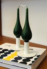 "Danish Drop Candles 7"" Pair, Dark Green"