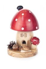 Mushroom Smoking (Incense) House Red 14cm x 10cm