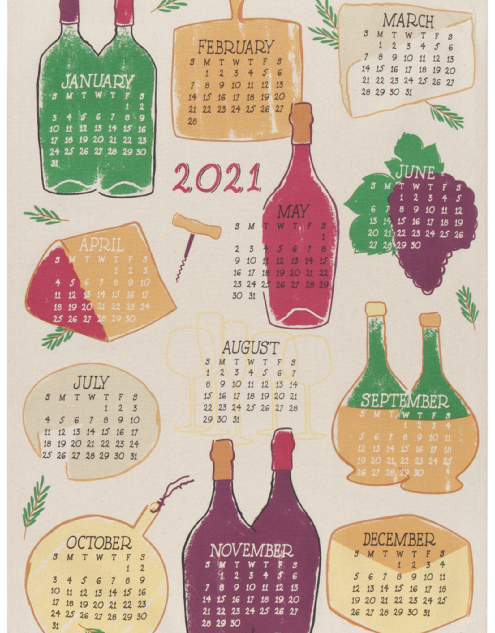 Wine Year 2021 Tea Towel