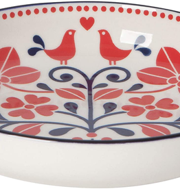 Shallow Bowl Red Navy Bird