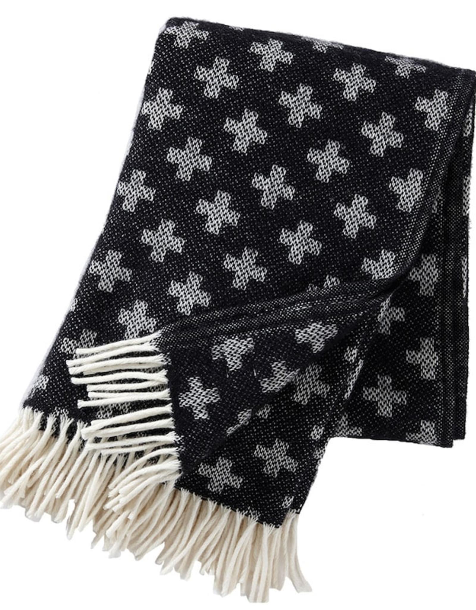 Cross Lambswool Throw, Black & White