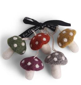 Felted Mushrooms Multi Colour, Set 5