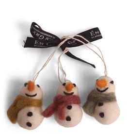 Felted Mini Snowmen, Set 3
