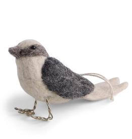 Felted Bird Ornament - Grey