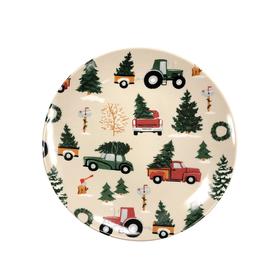 Vintage Christmas Ceramic Dessert Plates, Set/4