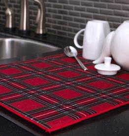 Holiday Plaid, Dish Drying Mat
