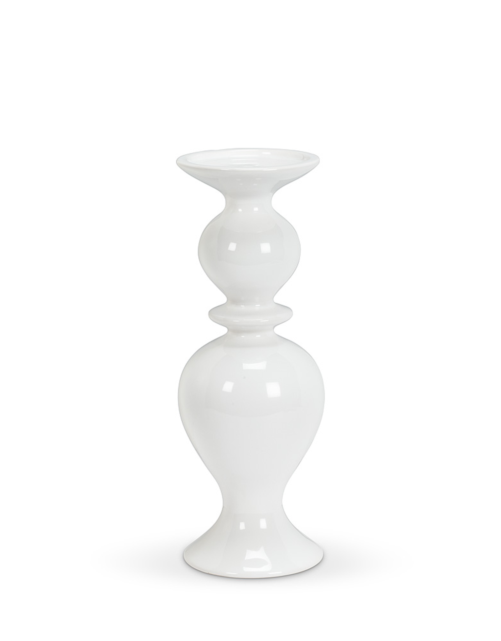 Shapely White Pillar Holder, Medium