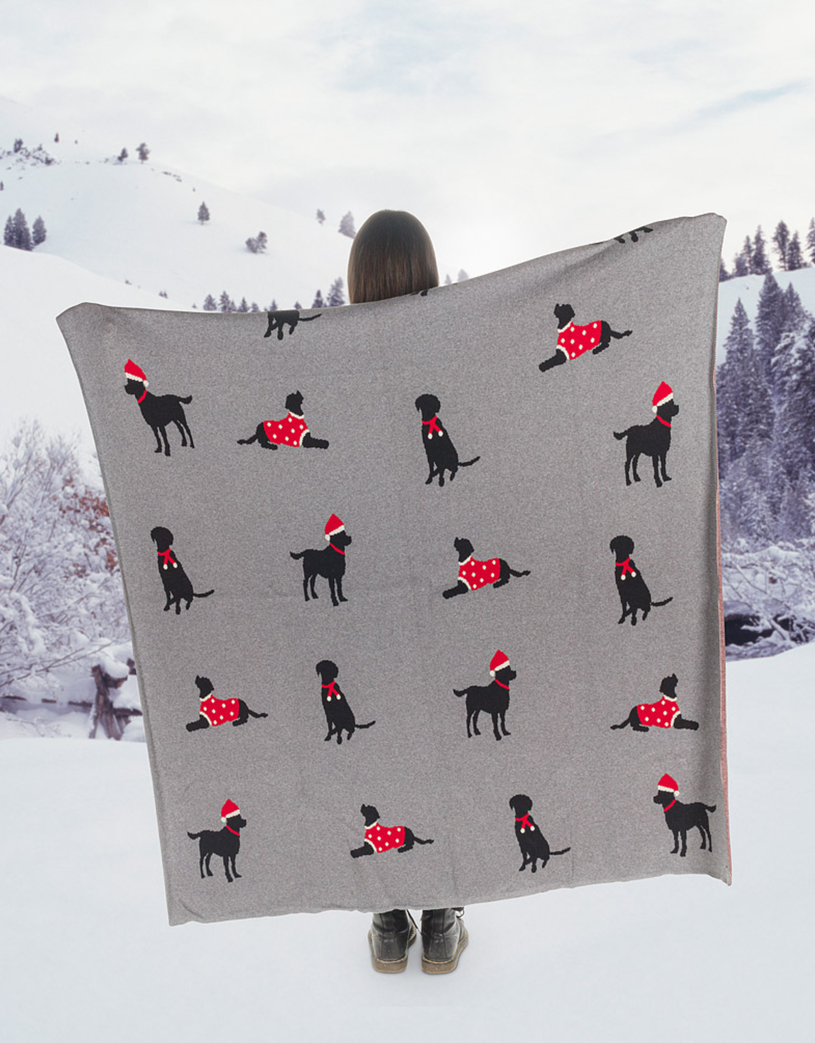 Santa Dogs Holiday Cotton Throw